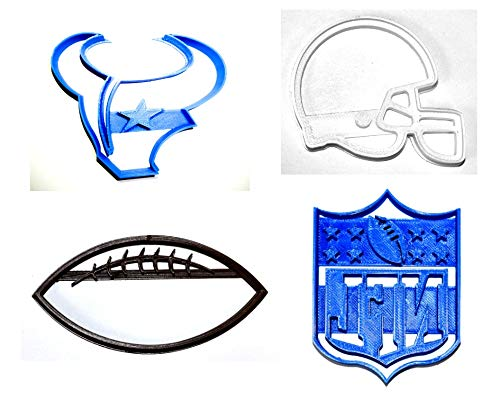 HOUSTON TEXANS NFL FOOTBALL LOGO HELMET SET OF 4 SPECIAL OCCASION COOKIE CUTTERS BAKING TOOL 3D PRINTED MADE IN USA PR1090