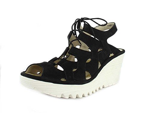 Sole White Wedge Women's Black YEXA916FLY Sandal Fly Cupido London qxSOwZUg