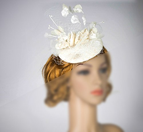 White Couture Wedding Fascinator With Bouquet Design And Veiling, Gorgeous Ascot Derby Large White Fascinator by bride N wedding