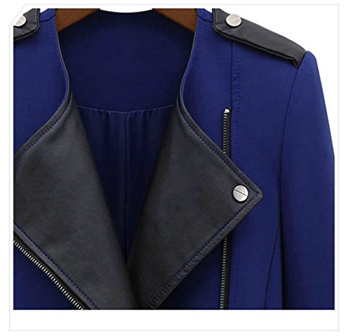 Nouvelle Longue ZEARO Bleu PU Femme Coupe Veste vent Manteau Parka Cuir Polyester Trench Jacket rrTxSX