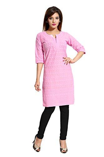 Chikan Kurta - Queenshield Chikankari Kurtis for Women Cotton Chikan Kari Kurta Kurti Indian Dress for Girls Ladies - Pink (36-S)
