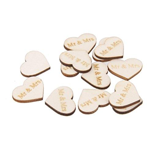 (BESTOYARD 50pcs Rustic Mr and Mrs Wooden Heart for Wedding Embellishments Table Confetti Decoration Crafting DIY Accessory )