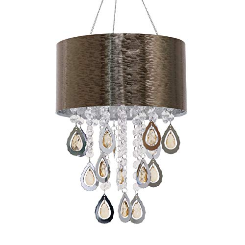 Exhart Chandelier - Chandelier Light w/Embossed Linear Design & Rhinestone Crystals, LED Decorative Light, Automatic Timer Light Up, Battery Powered Lighting, Hanging Home Decor (12