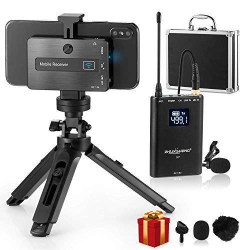 Wireless Lavalier Microphone For Iphone Android Phone Dslr Camera Mobile Professional Lavalier Wireless System With Built In Chargeable Battery Tripod For Youtuber Vlogger Video Recording Zhuosheng