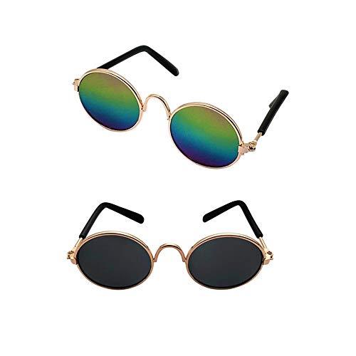 2 Pcs Classic Retro Pet Glasses Pet Sunglasses Pet Eyewear for Dog Cat Cosplay Photos Props