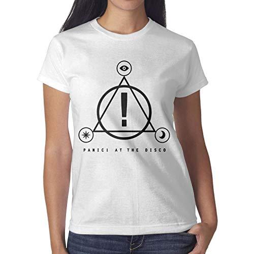 YMAIZ White Girls Panic!-at-The-Disco-Logo- Tee Shirts Cotton Slim Fit Short Sleeve