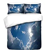 iPrint 3Pcs Duvet Cover Set,Sky Decor,Clear Weather Sky Sun On Sky with Clouds Solar of Clean Energy Power Artwork,Gray Blue,Best Bedding Gifts for Family/Friends