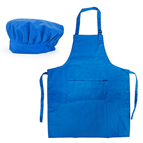 Opromo 6-Pack Cotton Canvas Adjustable Apron and Chef Hat Set-Blue-XL by Opromo