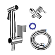 #LightningDeal IVN Bidet Sprayer for Toilet, Stainless Steel Sprayer Attach with Hose for Feminine Wash, Baby Diaper Cloth Washer Stainless Steel Cleaner and Shower Sprayer for Pet