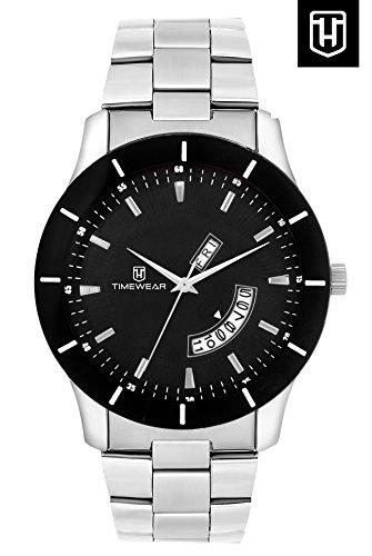 H Timewear Formal Black Dial Men's Day & Date Watch – 142CHBDTGDD
