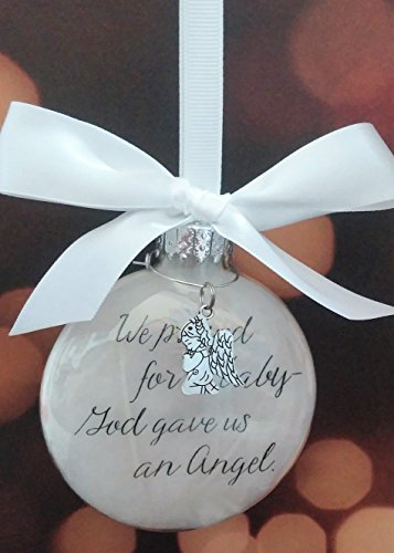 (Miscarriage Memorial Ornament - We Prayed for a Baby w/ Angel Charm - In Memory of Pregnancy Loss)