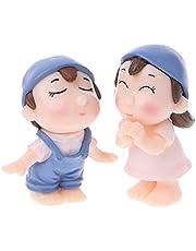 Kofun 1 par de Figuras en Miniatura para Amante de la Huella de Jardín con Diseño de Pareja Sonriente, Resina, Azul, 4 cm