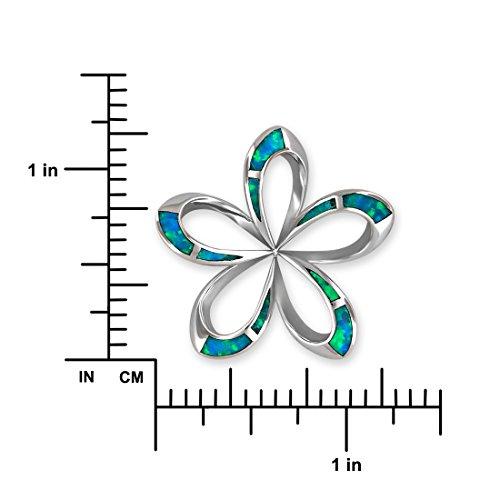 Argent sterling synthétique Bleu opale 31mm ouvert Plumeria Pendentif Collier, 16+ Rallonge de 5,1cm