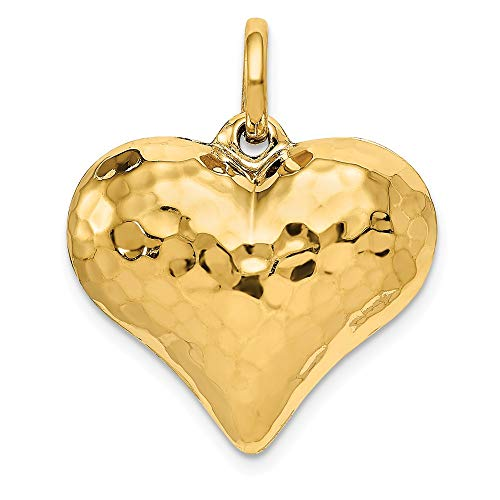 14k Hollow Polished Hammered Medium Puffed Heart Charm, 14 kt Yellow Gold