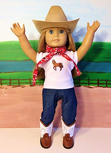 Clothes Boots Western (The Wishlist Store Western Cowgirl Cowboy Outfit ~ 18 Inch Doll Clothes for American Girl HAT, Brown Boots, Jeans, Bandanna, Horse TOP !! Complete Set!)