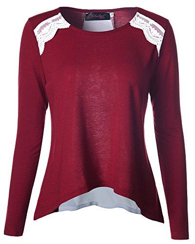 Camiseta de Manga Larga Mujer Cuello Redondo Blusa Tops Vino Rojo