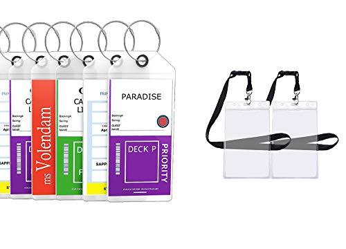 Cruise Tags Luggage Etag Holders Zip Seal & Steel Loops Thick PVC - (4 Pack + 2 ID Holders)