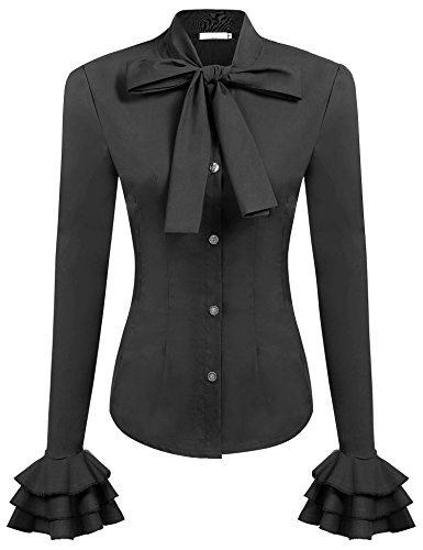 Zeagoo Women Vintage victoriann Ruffle Career Shirt Black (Check Ruffle Shirt Dress)
