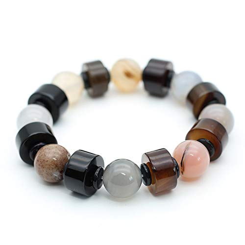 Mayanyan Natural Old Agate Buddha Beads Bracelet Striped Agate Abacus Bead Hand String Gift