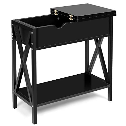 - Flip Top End Table Sofa Side Console Table Retro Style Entryway Living Room Bedroom Modern Furniture Sturdy Construction Home Decor (Black)