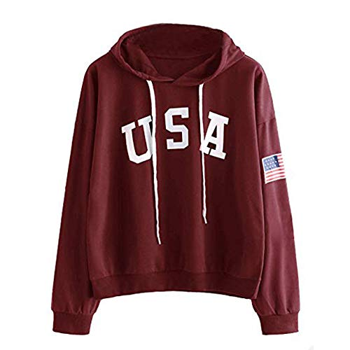 HIRIRI Women's American Flag Print Shirt Long Sleeve Drawstring Hoodies Casual Hooded Blouses Tops -