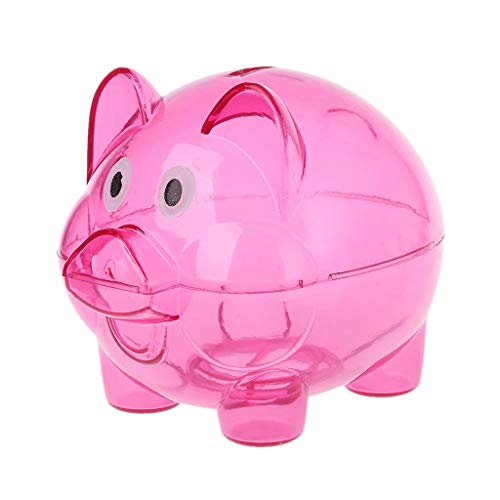 (gothing Cute Pig Clear Piggy Bank Plastic Coin Money Cash Openable Collectible Saving Box Case Kid Gift Toy (Hot Pink, Large))
