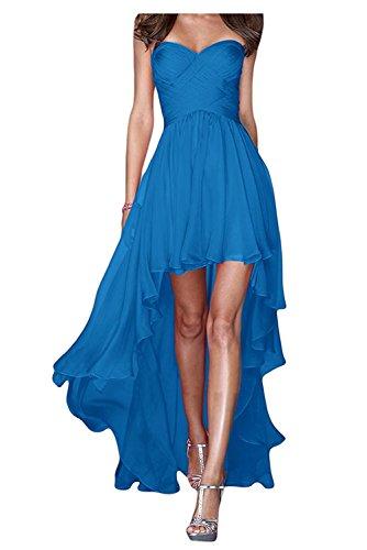 Blau Marie Damen Abendkleider Hi lo Linie La Herzausschnitt Braut Partykleider Dunkel Chiffon Brautjungfernkleider A Rock qaCXxx6ndE