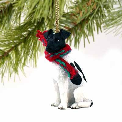 Fox Terrier Miniature Dog Ornament - Black & White by Conversation (Black Fox Terrier Ornaments)