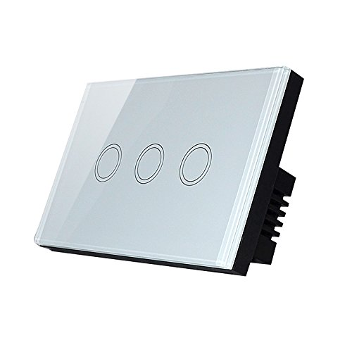 Fnado Smart Wall Light Switch, 3 Gang 2 way Remote Control Crystal Glass Touch Panel Master Switch, LED indicator, Light Touch Screen Switch (AC110-240V) by FNADO