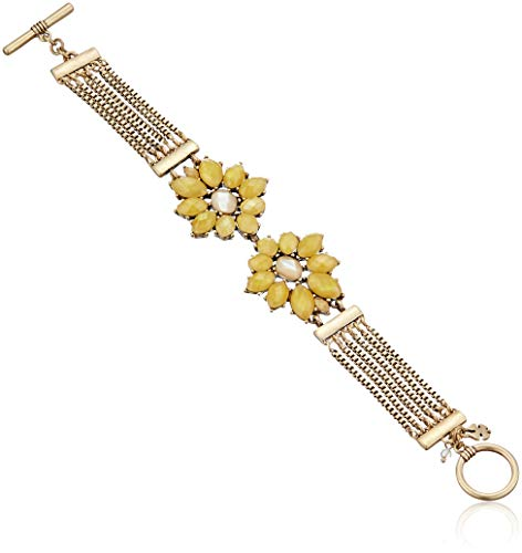 Lucky Brand Women's Set Stone Floral Statement Link Bracelet, Gold, One Size