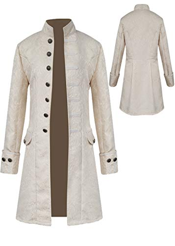 Mens Vintage Tailcoat Jacket Goth Long Steampunk Formal Gothic Victorian Frock Coat Costume for Halloween (White, S)