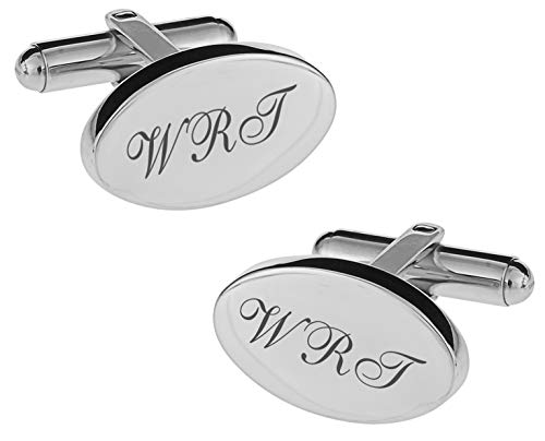 (Personalized Silver Oval Cufflinks Engraved)
