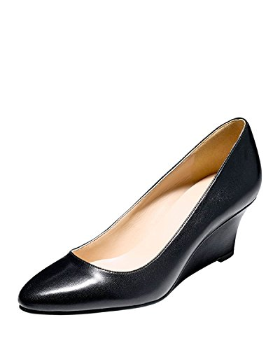 Cole Haan Women's Catalina Wedge Pump (6.5 B(M) US, Leather Black) (Cole Haan Catalina compare prices)