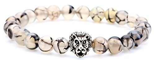 Hamoery Men Women 8mm Lava Rock Chakra Beads Bracelet Elastic Natural Stone Agate Bracelet Bangle,Lion Head(Ita Creen)