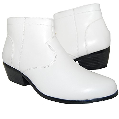 A SHOE FACTORY 2 Inch High Cuban Heel White Boot, Leather Lined Men