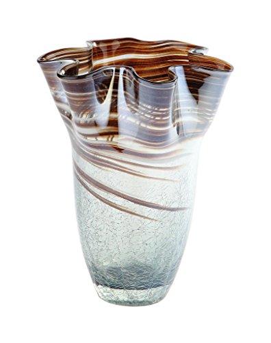 "Exquisite Glass Decor New 10\"" Hand Blown Glass Murano Art Style Vase Brown Handkerchief Ruffle Fluted Italian"