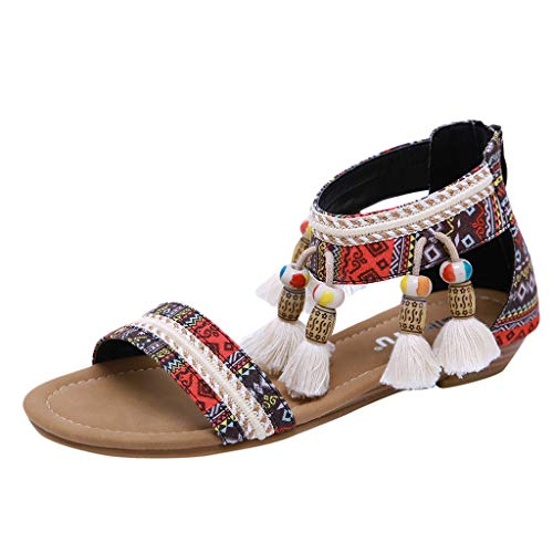 HIRIRI Women Bohemian Flat Sandals Ethnic Wind Stretch Fabric Gingham Roman Flat Sandals Black