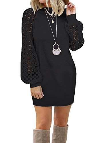 MIHOLL Women's Puff Long Sleeve Lace Casual Cocktail Dresses Mini Dress