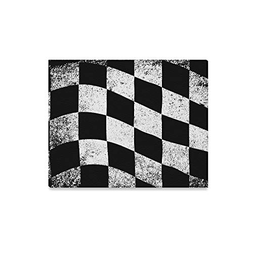 ENEVOTX Wall Art Painting Dirty Chequered Flag Black White Checked Pattern Prints On Canvas The Picture Landscape Pictures Oil for Home Modern Decoration Print Decor for Living -