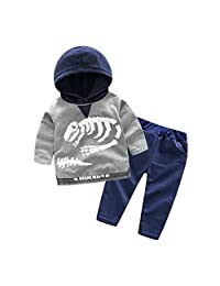 Staron Toddler Kids Baby Clothes Set Boys Dinosaur Hooded Tops+Pants Infant Outfits