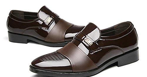 matrimonio scarpe uomo casual uomo in da da XWZG business vernice scarpe dimensioni grandi di brown per 0P4qwSxH