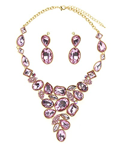 Women's Evening Gala Necklace and Earring Set - Multi Shape Gemstone, (Pink Stone Set)