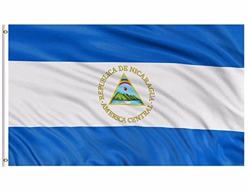 DFLIVE Nicaragua Flag 3x5 ft Printed Polyester Fly Nicaraguans Flag Banner with Brass Grommets