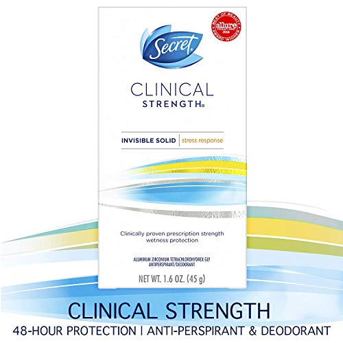 Secret Antiperspirant Deodorant for Women, Clinical Strength Invisible Solid, Stress Response, 1.6 Oz (Best Prescription Strength Antiperspirant)
