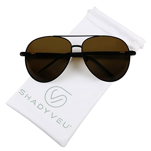 ShadyVEU - Polarized XL Over Size Wide Metal Double Brow Bar Aviator Pilot Sunglasses (Black Frame w/Amber Lens, 142)