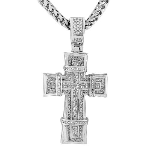 Stainless Steel White CZ Large Hip Hop Cross with Chain Mens Pendant by My Daily Styles