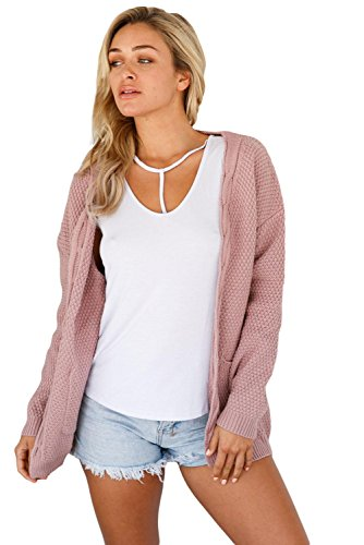 Cardigan Elegant Long Women's Sweater ART Open Stylish and LADY Front Pink Pocket 1qwt4ZYxE