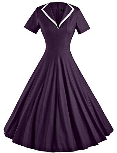GownTown Women's 1950s Retro Vintage V-neck Party Swing - Retro 1950s
