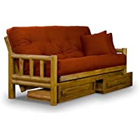 Rustic Tahoe Log Queen Size Wood Futon Frame and Storage Drawers - Heritage F...