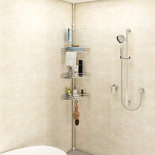 Lifewit Corner Shower Caddy 4 Tiers Adjustable Height Bathroom Storage Constant Tension Corner Pole Caddy Free Standing ()